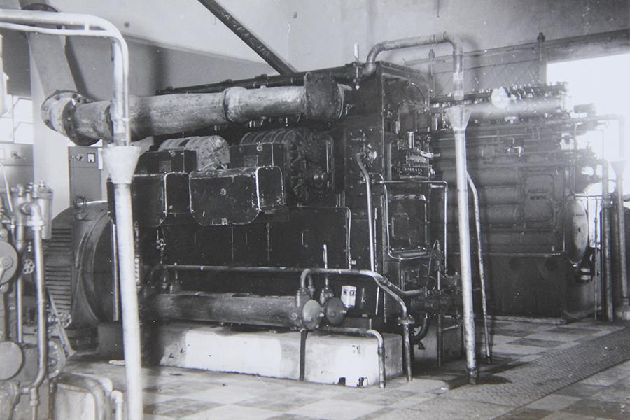 Segundo motor para producir energía eléctrica, instalado en la planta en el año 1967.